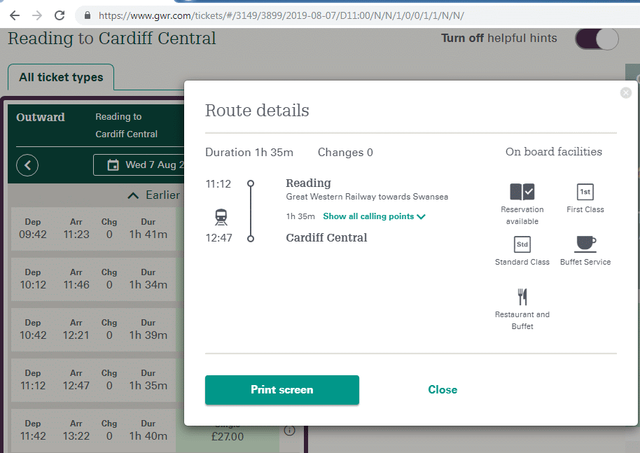 Reading to Cardiff journey details panel from GWR website