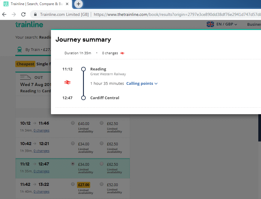 Reading to Cardiff journey details panel from the Trainline website