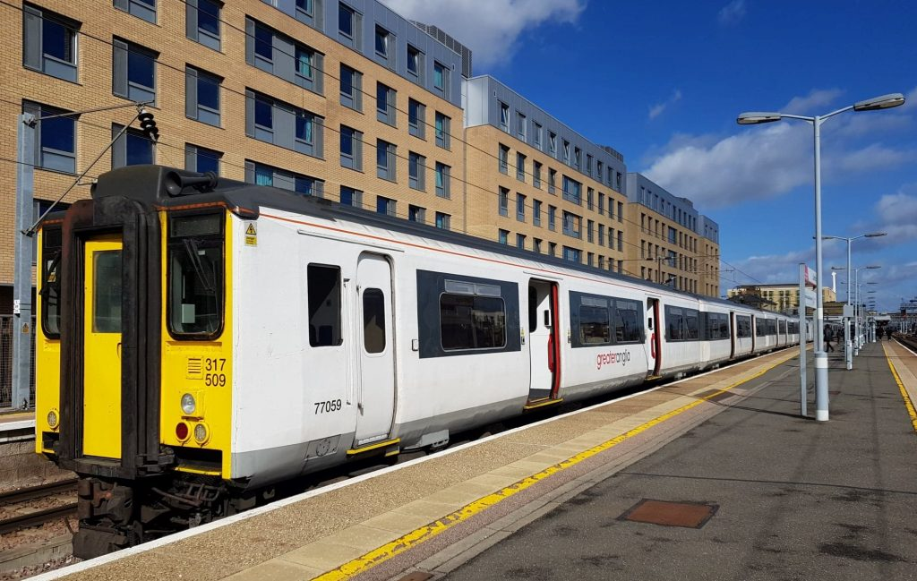 Greater Anglia train number 317509 in the platform at Cambridge