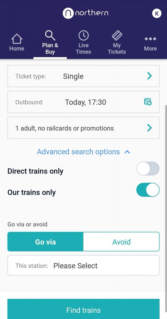 A screenshot from the Northern Railway app showing a search for a Manchester Victroria to Leeds single journey 'Today at 1730', with a slider selected against an option labelled 'Our trains only'.
