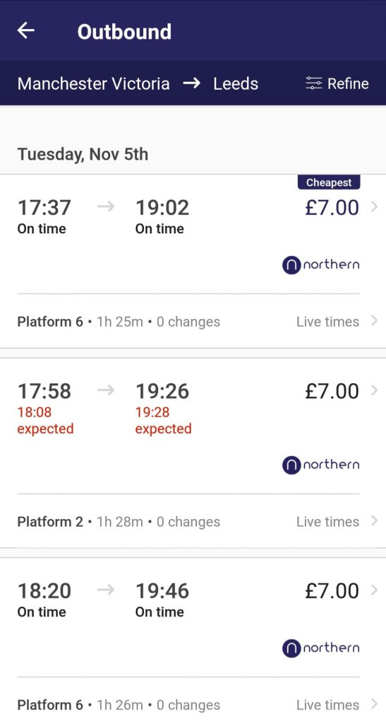 The results from a search in the Northern Railway app, showing Northern trains from Manchester Victoria to Leeds at 1737, 1758 and 1820 all priced at £7. One train is shown running 10 minutes late, and trains are shown with platform numbers.