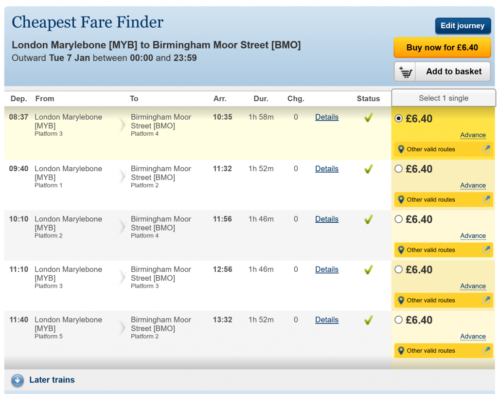 National Rail Enquiries 'Cheapest Fare Finder' screen showing London Marylebone to Birmingham Moor Street trains throughout the morning of Tuesday 7th January 2020, at various times, at a price of £6.40